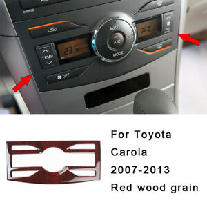 For Toyota Corolla 07 13 Red Wood Grain At Central Console Ac Switch Panel Trim
