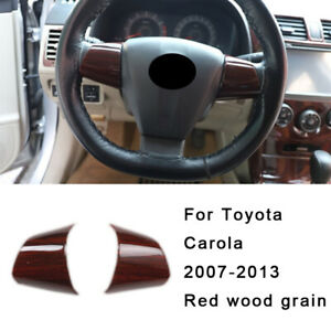 For Toyota Corolla 2007 2013 Red Wood Grain Gl Steering Wheel Button Cover Trim