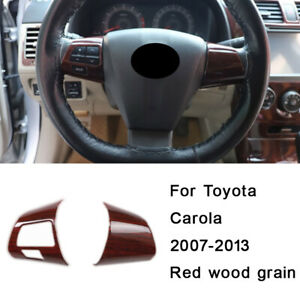 For Toyota Corolla 2007 08 2013 Red Wood Grain Steering Wheel Button Cover Trim