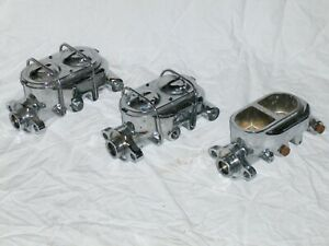 Lot Of 3 Chrome Street Rod Master Cylinders Universal 916 12 For Parts Repair