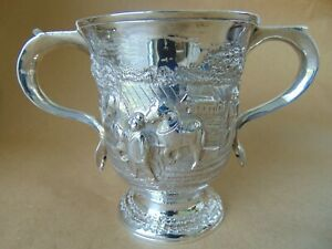 Stunning George Ii Sterling Silver Crest Loving Cup 1758 With Ploughing Scene