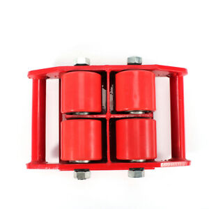 Red 6t Machinery Mover Heavy Equip Household Appliance Dolly Skate 360 Rotation