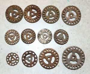 12 Vintage Iron Valve Handles Steampunk Industrial Round Assortment 7 Rare