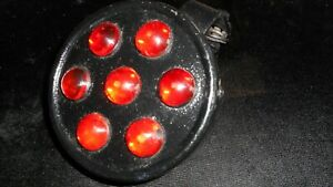 Antique Persons No 7 Glass Red Marble Automobile Tail Reflector With Mounting