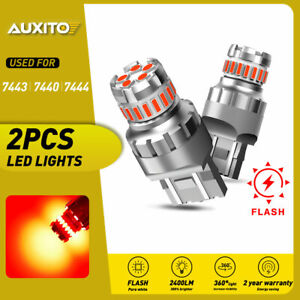Auxito 7443 7440 Led Red Strobe Flash Brake Stop Tail Parking Light Bulb