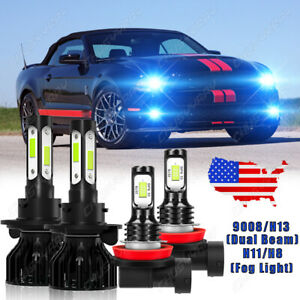 For Ford Mustang 2005 2012 8000k H13 Led Headlight High Low H11 Fog Light Bulb
