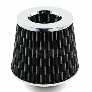 76mm Carbon Fiber Pattern Silver Cover 3 Inlet Cold Air Intake Dry Air Filter