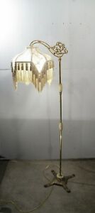 Antique Vintage Down Arm Bridge Footed Floor Lamp Onyx Shade Not Included
