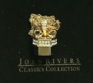 Joan Rivers Present gift Box With Red Crystal Heart Pendant On Chain Necklace