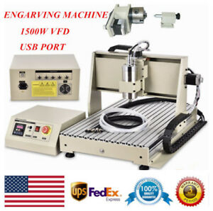 Usb 4 Axis Cnc 6040 Router Engraver Milling Drill Machine 1500w Vfd Controller