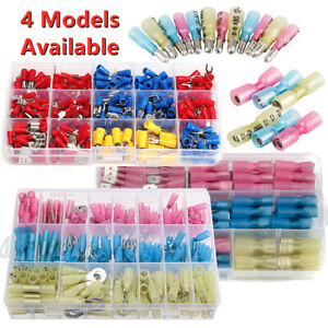 Assorted Insulated Heat Shrink Cold Crimp Wire Spade Connectors Terminals Kit