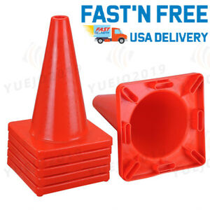 6pcs Pvc Traffic Cones 17 Tall Road Safety Parking Construction Emergency Cones