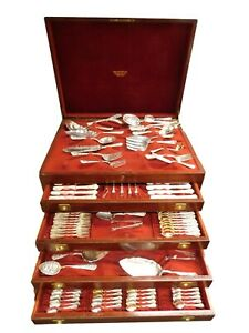 Cluny By Gorham Sterling Silver Flatware Service Massive Set With Vintage Chest