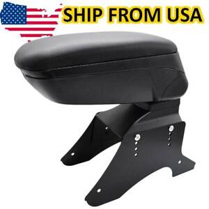 Universal Central Console Arm Rest New Sliding Top Soft Storage Box Leather Tray