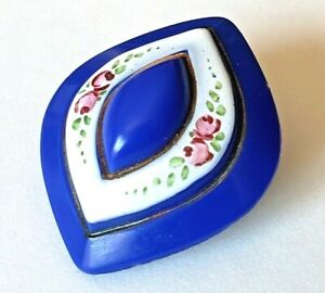Antique Button Big Blue Glass Shape With Sweet Enamel Pink Roses Green Leaves