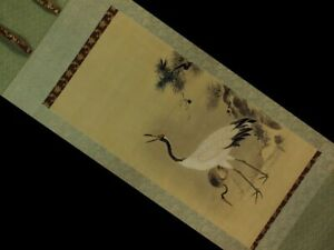 Japanese Antique Hanging Scroll Painting Hisanobu Kano Parent And Child Crane