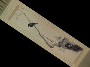 Japanese Antique Hanging Scroll Painting Tanaka Raisho Shiraume Kotori