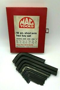 Mac Tools Sae Hex L Key Set Lot Allen Wrench 028 5 8 Metal Case Shk18 Short
