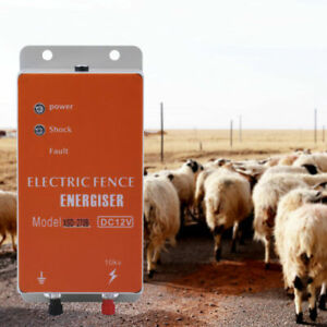 10km 12v Electric Fence Controller Energizer Charger Ranch Animal Cattle Poultry