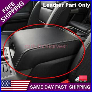 New For 2015 2019 Ford F150 Black Leather Armrest Center Console Lid Cover