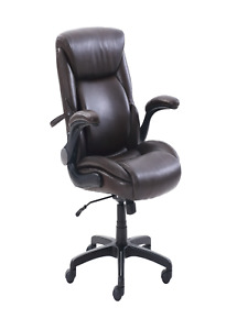 Serta Air Lumbar Bonded Leather Manager Office Chair Brown