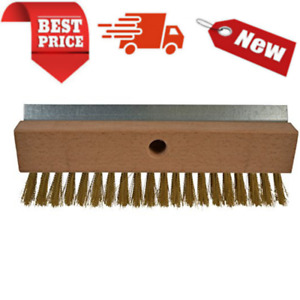 4004 Industrial Strength Pizza Oven Stone Brush Scraper And Cleaner 10 Brown