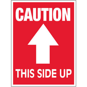 3 X 4 caution This Side Up Arrow Labels 500 roll