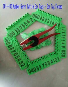 001 100 Number Green Cattle Ear Tags Ear Tag Forcep