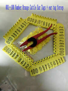 001 100 Number Yellow Cattle Ear Tags Ear Tag Forcep