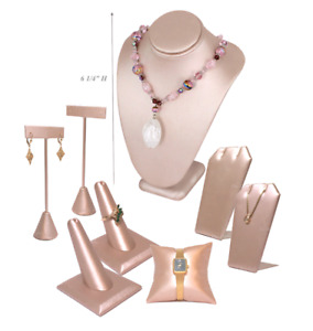 8 Pink Leatherette Jewelry Display Stands Holder Bracelet Earring Necklace Ring