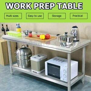 Kitchen Top Work Table Stainless Steel Commercial Counter Restaurant Food Ready
