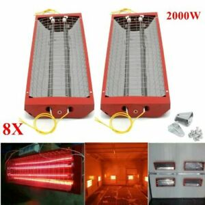 8 Set 2kw Spray Baking Booth Infrared Red Paint Curing Light Heating Lamp Heater