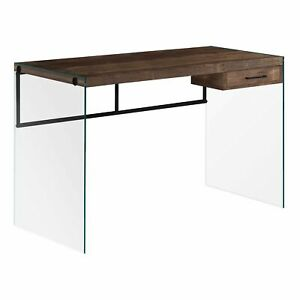 23 75 X 48 X 30 Brown Black Clear Particle Board Computer Desk