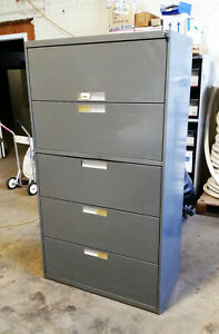 Bentson 5 Five Drawer Steel Lateral Legal File Cabinet Working Lock Key Grey