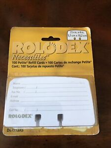 Rolodex Petite Refill Cards 2 1 4 X 4 100 Cards pack 071912675532