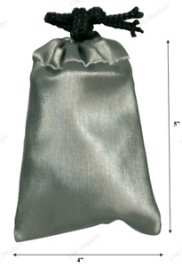 12pc Jewelry Drawstring Pouch Bags Steel Gray Faux Leather Pouches Bags 4 X 5