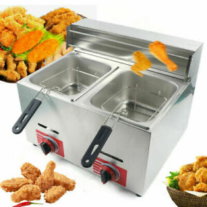 Commercial Countertop Lpg Gas Fryer 2 Basket Double Cylinder Gas Fryer Stainless