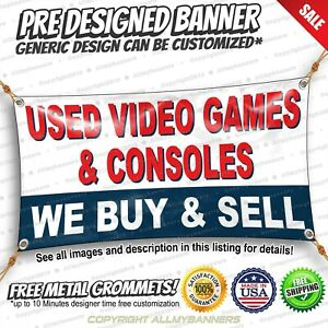 Used Video Games And Conseles Banner Sign For Outdoors And Indoors Strong Vinyl