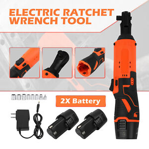 12v 3 8 Cordless Electric Ratchet Wrench Degree Power Tool W 2 Battery Charger