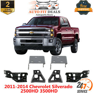 Front Bumper Bracket Outer And Inner Left Right For 2011 14 Chevy Silverado Hd