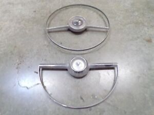 1952 1953 1954 Ford Steering Wheel Horn Ring Buttons Pair Lot Chrome Original