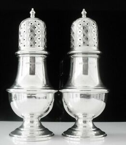Pair Large Sterling Silver Pepper Pots A Marston Co Birmingham 1934