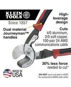 Klein Tool Journeyman High leverage Cable Cutter And Stripper Usa Made