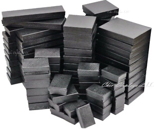 100pc Jewelry Gift Boxes Black Cotton Filled Gift Boxes Assorted Size Boxes