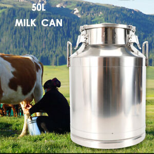 50l 13 25 Gallon Stainless Steel Milk Can Embedded Silicone Seal For Restaurant