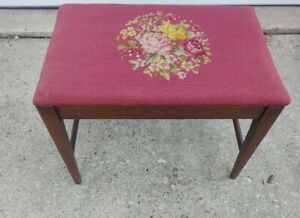 Vintage Wooden Stool Bench Ottoman Floral Needlepoint Top