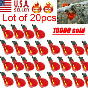 20x Poultry Water Drinking Cups Chicken Hen Plastic Automatic Drinker New