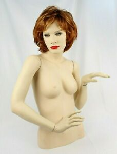 Vintage Wolf Vine Female Mannequin Upper Torso With Eyelashes And Red Wig