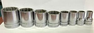 Snap On Sockets Lot Of 8 Pieces 1 2 Drive 1 1 4 To 7 16 Sw