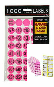 1000 Pcs Yard Garage Sale Price Stickers Pre priced Labels Self Adhesive Tags